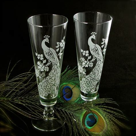 Decorated Pint Glasses by Peacock Wedding Decor Personalized Toasting Flutes