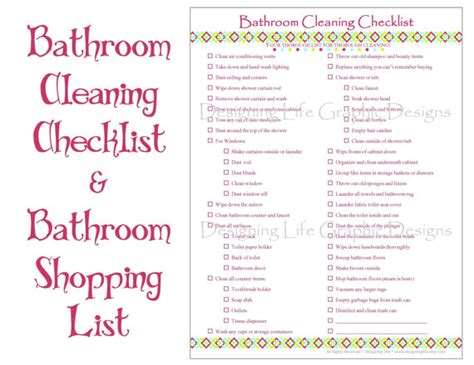 bathroom items list bathroom cleaning and shopping checklist two by designinglife
