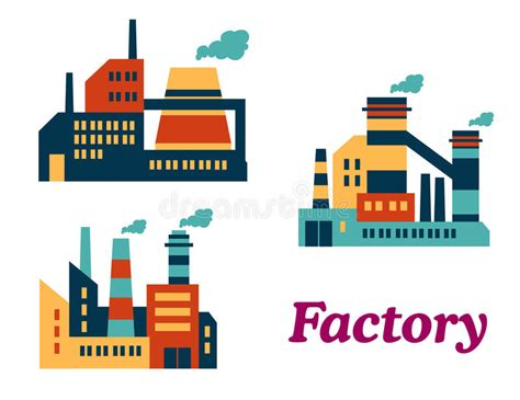 design icon factory flat factories icons stock vector illustration of