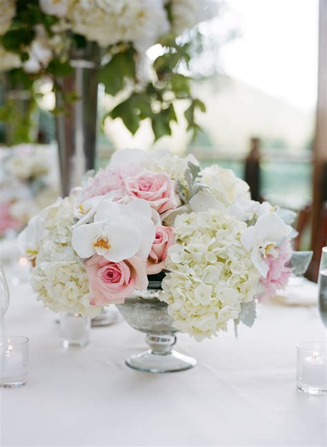 Low Wedding Reception Centerpiece White Pink Flowers Low Wedding Centerpieces