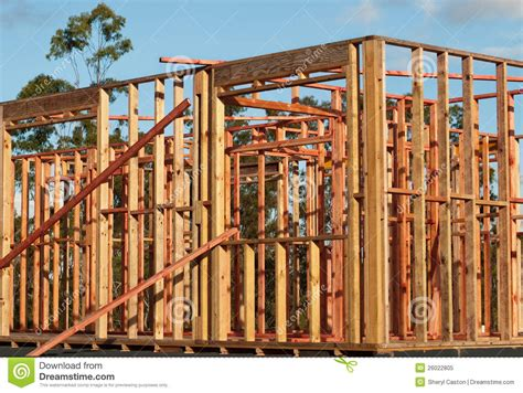 House Structure Pine Timber Wall Frames House Structure Royalty Free Stock