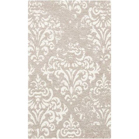 gray accent rug nourison damask ivory grey 2 ft 3 in x 3 ft 9 in accent rug 349736 the home depot