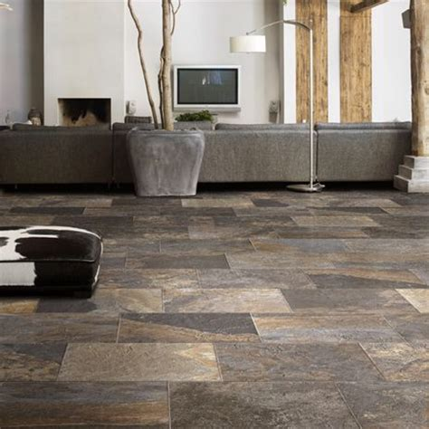 Multi Colored Tile Floor by Slate Plank Tile Modern Living Arizona