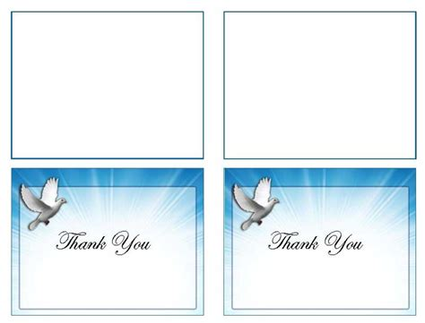 thank you card template word 2003 funeral thank you card template celestial dove