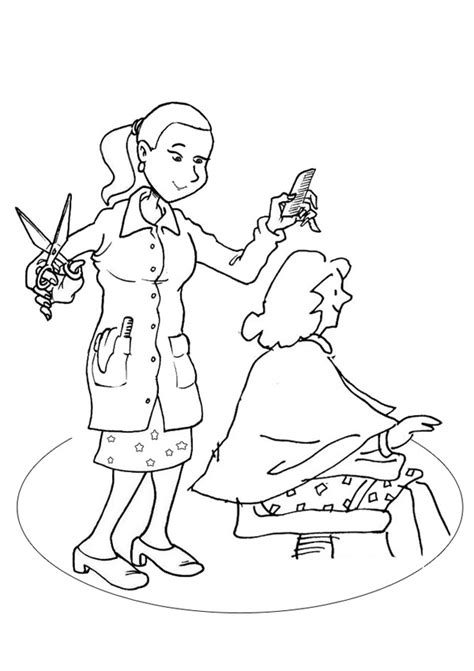 coloring pages hairdresser free online hairdresser colouring page