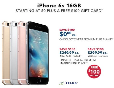 Iphone Best Buy Gift Card - best buy apple sale iphone 6s for 0 on contract plus 100 gift card and more