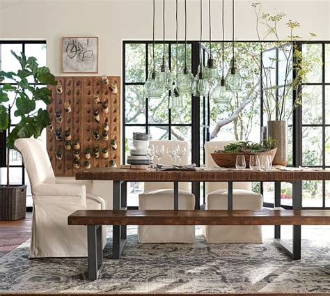 rectangular square reclaimed wood dining table griffin reclaimed wood dining table pottery barn