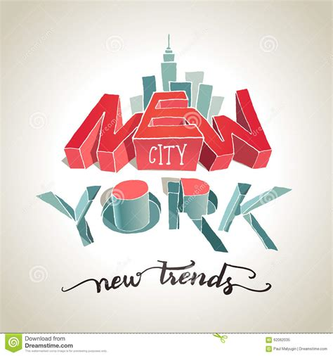 typography 3d new york city 3d typography illustration stock vector image 62062035