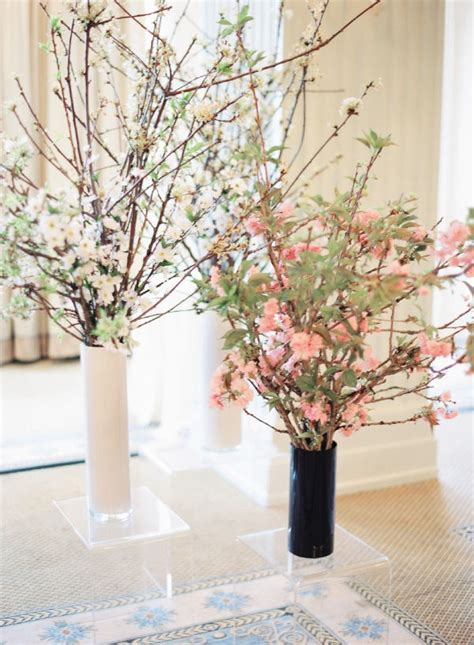 cherry blossom arrangements pretty cherry blossom centerpieces pink weddings pinterest