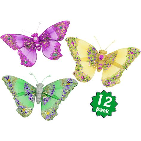 Butterfly Set 12 9 quot pgg butterfly clip decoration set of 12 me9530 mardigrasoutlet