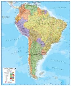 wall map of south america large laminated political map
