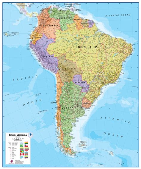 political map of south america wall map of south america large laminated political map