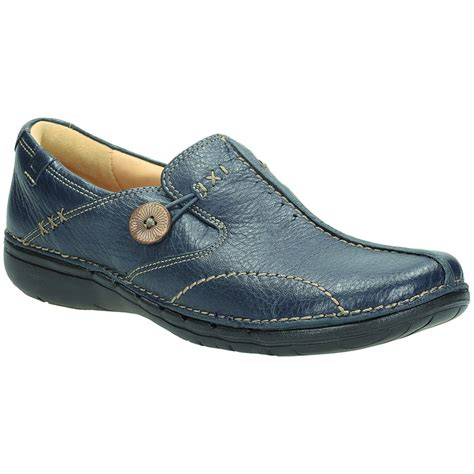 clarks womens un loop navy leather casual shoe