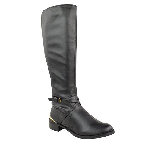 womens flat wide leg stretch mid calf knee high