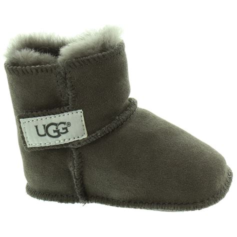 ugg baby slippers ugg baby erin sheepskin boots in charcoal in charcoal