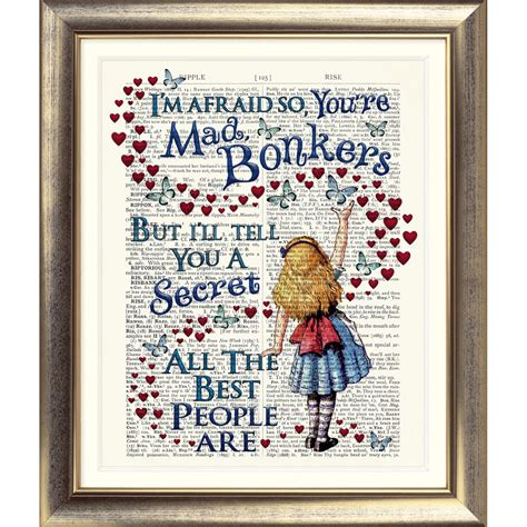 Dictionary Page Art Print Vintage Antique Book Alice In Wonderland Bonkers Quote Ebay Book Page Print