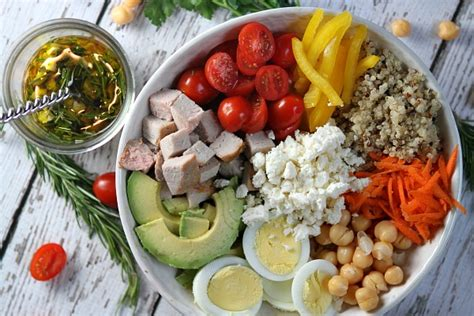 protein bowl roasted pork protein bowls with rosemary vinaigrette