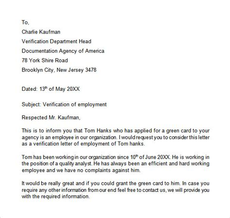 Employment Letter Confirmation Sle employment verification letter template for visa letter