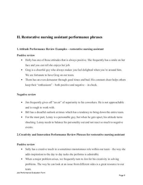 Restorative Nursing Assistant Description by Restorative Nursing Assistant Performance Appraisal