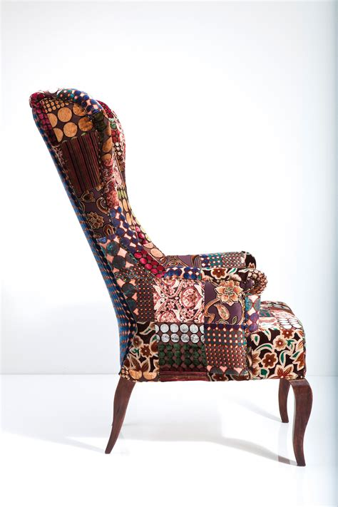 Velvet Patchwork - upholstered high back fabric armchair patchwork velvet by