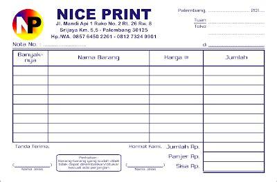 buat nota faktur dan kwitansi di palembang percetakan