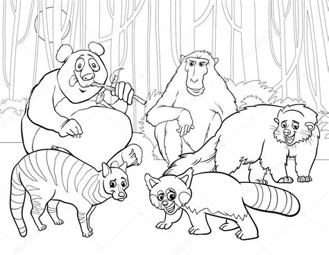 group of animals coloring page animals group cartoon coloring page stock vector