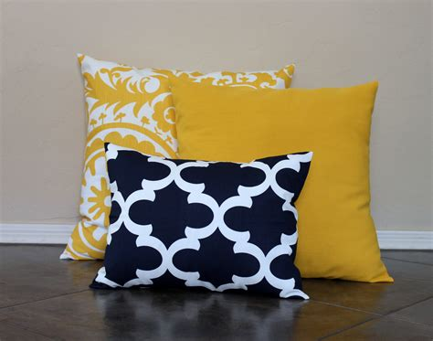 Navy Pillows For by Navy And Yellow Pillow Covers Throw Pillow Covers By