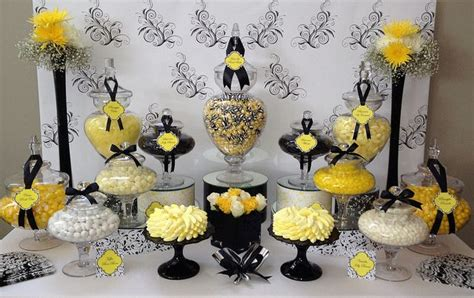 black and gold buffet ls black white yellow wedding candy buffet by the couture