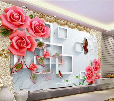 www home decoration com 3d tv backdrop embossed box rose flowers 3d wallpaper
