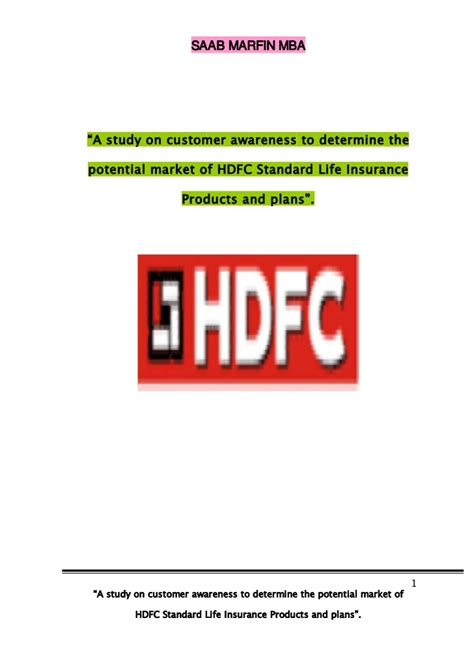 Mba Project Hdfc Standard Insurance by Custmar Awareness Of Hdfc Bank