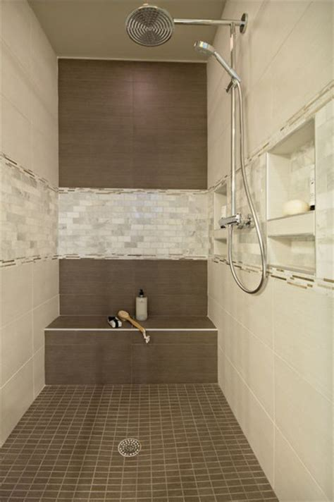 cream tiled bathroom ideas brown and cream tile shower with mother of pearl accent