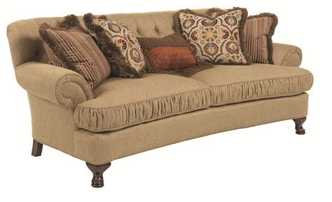 traditional couch traditional conversation sofa with ruched cushions and