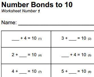 free printable mathematics worksheet number bonds to 10