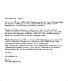 Exle Of Recommendation Letter For College Student 5 College Recommendation Letters Sle Templates