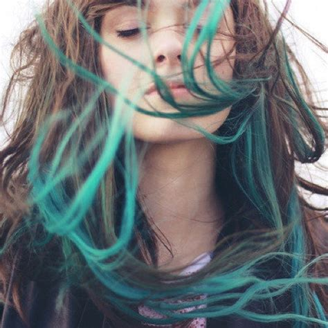 turquoise blue tip dyed hair extensions dark brown black 22