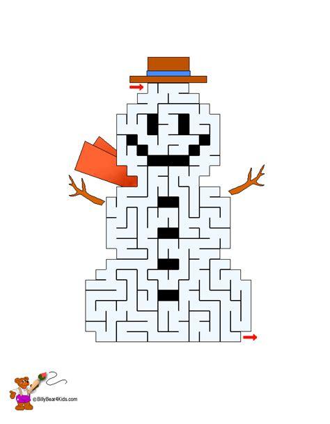 printable holiday mazes free 6 christmas mazes snowman