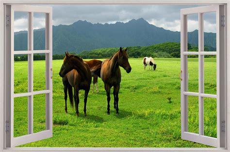 Horse Wall Stickers Uk huge 3d window view wild horses grazing wall sticker mural