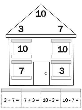 fact family house best photos of first grade fact family houses fact family cards math fact family