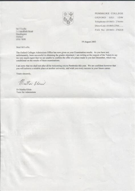 Oxford College Acceptance Letter Get Oxford Rejection Letter Studential