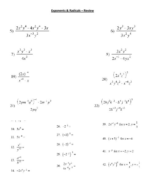 printable math worksheets power rule exponent rules worksheet 2 answer key multiplying