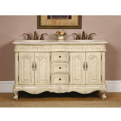 58 inch double sink bathroom vanity in antique white