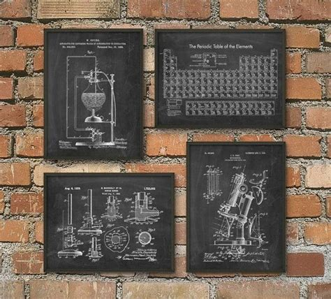 science bedroom decor science patent prints set of 4 chemistry wall art