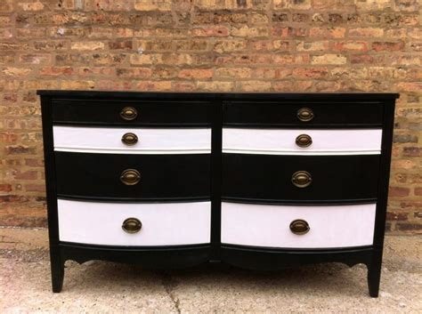 White Black Dresser Vintage Black And White Striped Dresser For The Home