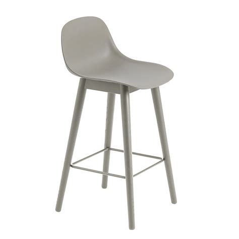 Metal Bar Stool With Backrest by Fiber Bar Stool With Backrest Wood Base By Muuto Connox