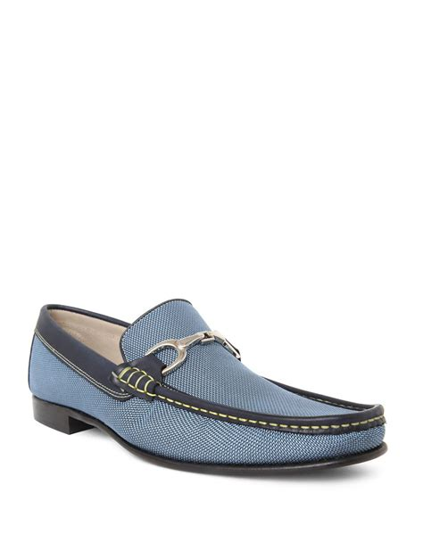 pale blue loafers donald j pliner darrin leather loafers in blue for lyst