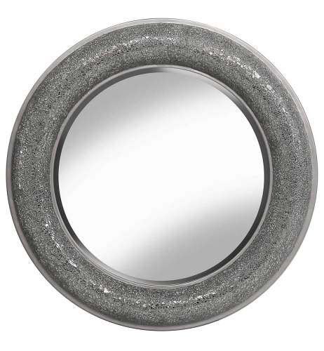 round silver bevelled mirror crushed glass mosaic sparkle bevelled mirror in silver