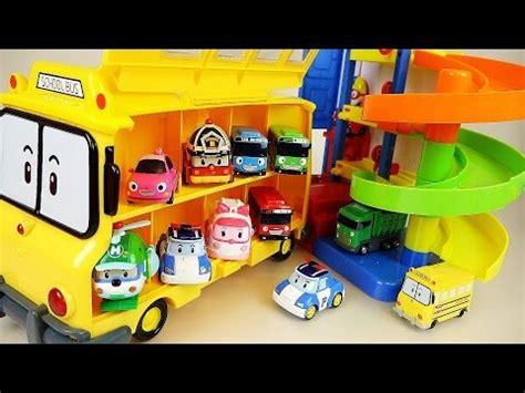 film robocar poli bahasa indonesia robocar poli school bus and parking tower car toys play