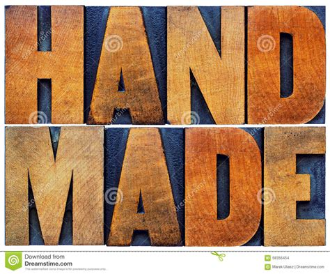 Handmade Word - handmade word abstract in wood type stock photo image