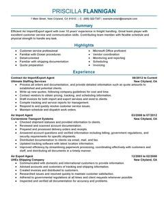 air import export resume exles government resume sles livecareer