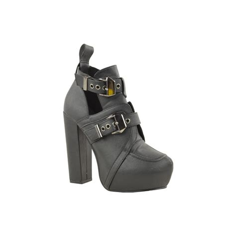 high heel buckle ankle boots